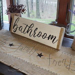 NEW Script Bathroom Farmhouse Sign